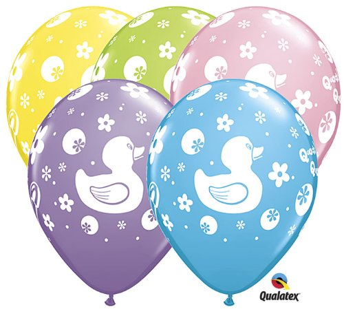 "11"" Rubber Ducky Assorted Latex Balloons - Package of 12"