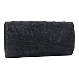 Damara Womens Perfectly Pleated Clutch Party bags (Black)