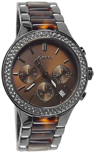 5ff01e133e6 DKNY NY8668 brown chrono dial gunmetal stainless steel brown resin tort  bracelet women watch NEW