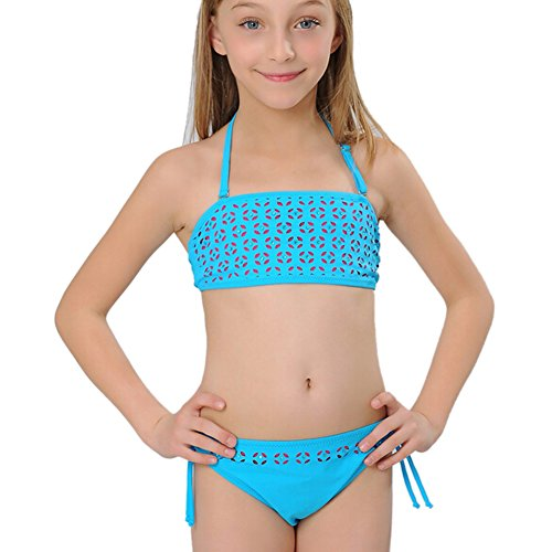 [iikids Comfortable Kids Stretch Nylon Swimsuits Kids Swimwear Two Piece Bikini Swimming Costume Baby Beach Wear for Girls Age 2 4] (Girls Swimming Costumes Age 13)