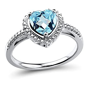 Blue Topaz Heart Ring in Sterling Silver
