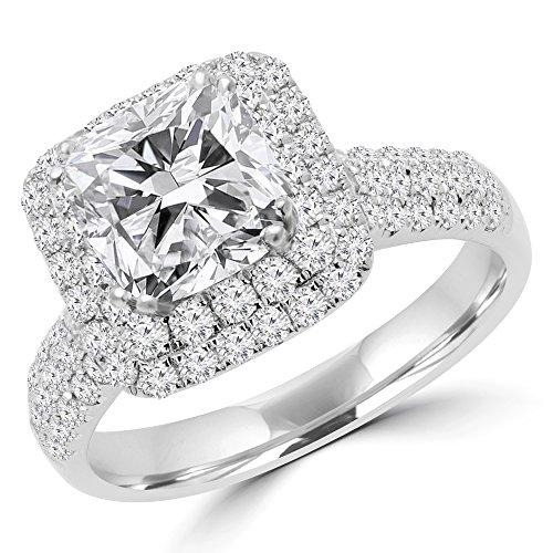 2 9 10 ctw diamant coupe coussin double halo mode bague de for Porte halo 60