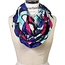 Scarfand\'s Mixed Color Oil Painting Infinity Scarf (Abstract Violet Fuchsia)