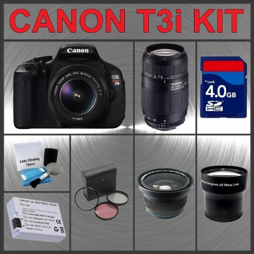 Canon EOS Rebel T3i 18MP Digital Camera with EF-S 18-55mm IS II Lens + Tamron AF 75-300mm f/4.0-5.6 LD for Canon Digital SLR Cameras + 4GB Memory Card + Spare Extended Life Li-Ion Battery + 3 Piece Lens Filter Kit + Wide Angle Lens with Macro Extension +