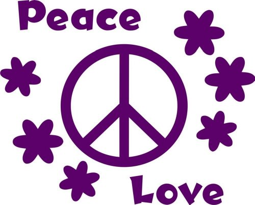 Design with Vinyl Design 167 Love Peace with Peace Sign Home Picture Art - Peel and Stick Vinyl Wall Decal Sticker, 10-Inch By 20-Inch, Purple