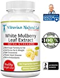 White Mulberry Leaf Extract Extra Strength - 1500mg/serving - 180 Capsules (Veggie) - 4500mg Daily - Weight Control - Regulating Blood Sugar Levels - 100% Natural Product - Made in USA