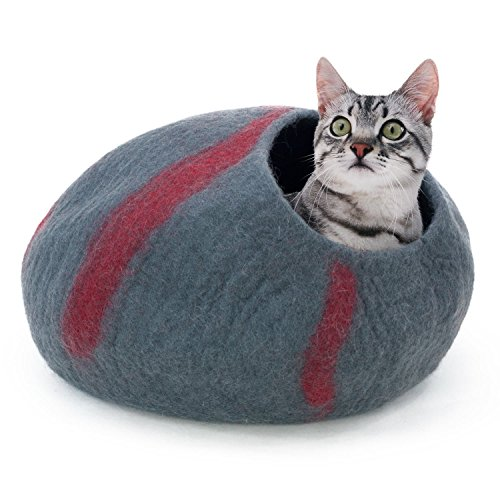 Frontpet Felt Cat Cave- 100% New Zealand Merino Wool. Handmade All Natural Extra Soft & Comfortable Large Bed Cat Bed Pod