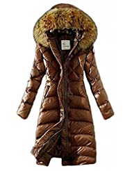 Women's Lengthed Fur-Trimmed Hood Light Down Outwear Coat