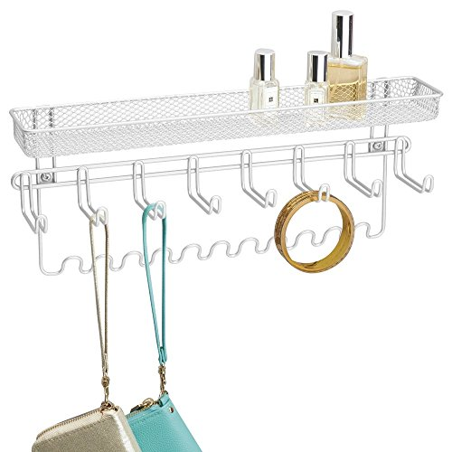 mDesign Fashion Jewelry Organizer for Rings, Earrings, Bracelets, Necklaces - Wall Mount, White (Nail Polish Jewelry compare prices)