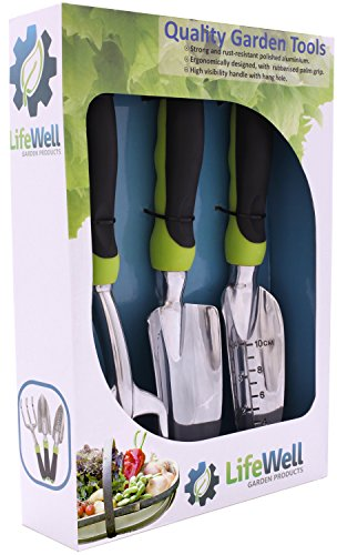 3-Piece Garden Tool Set. No More Sore Hands & The Toughest Gardening Tools You'll Ever Buy! Perfect Christmas Gift. Set Includes Trowel, Transplanter, Rake / Cultivator PLUS Growing Tips E-Book.