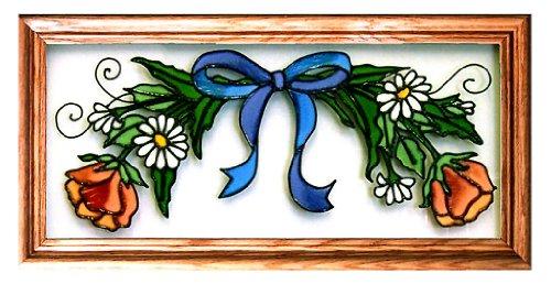FLOWER GARLAND Suncatcher Window 11x22 Glass Panel Framed