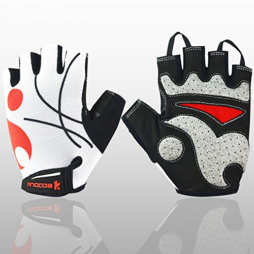 Ezyoutdoor Breathable Outdoor GEL Bike Half Finger Cycling Gloves Short Mesh Bicycle Biking Riding Gloves (White, Small) (Aj Lee Sex compare prices)