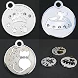 Stylish Pet Id Tags. Bone, Crown, and Cat Silhouette. Genuine Swarovski Crystal. High Quality Polished Stainless Steel. Custom Engraved with Four Lines of Text. Perfect for Every Pet!