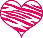 Zebra Print Heart Decal Sticker Laptop, Notebook, Window, Car, Bumper, Etc... Stickers 5.75x5in. in HOT PINK-Exterior Window Sticker with Free Shipping