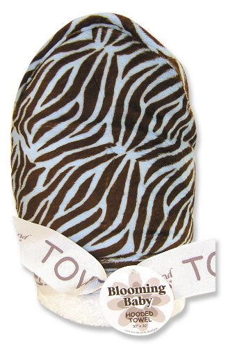 Trend Lab White Terry Hooded Towel with Velour Zebra Print On Hood And Trim