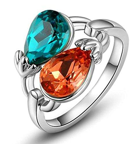 alimab gioielli-anello placcato oro doppia Corlor Peal D, Metallo base placcato oro (oro rosa), 17, colore: oro rosa, cod. xxjiezhityix1417
