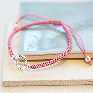 Sterling Silver Friendship Bracelet with 'Friend' Hoop and silk adjustable strap - Salmon Pink