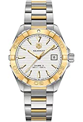 Tag Heuer Aquaracer Automatic White Dial Steel and 18kt Yellow Gold Mens Watch WAY2151.BD0912