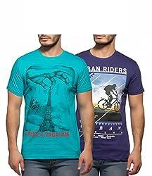 Yo Republic Mens Cotton Tshirt Combo Offer (Pack of 2)(AT-0054-1XL_Sea Blue_Purple_X-Large)