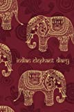 Indian Elephant Diary: 200-Page Blank Book Journal With Decorated Asian Elephants [Red / 6 x 9 Inches]