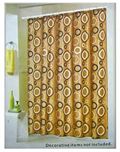 Spring Classic Brown With Black And White Rings Fabric Shower Cur