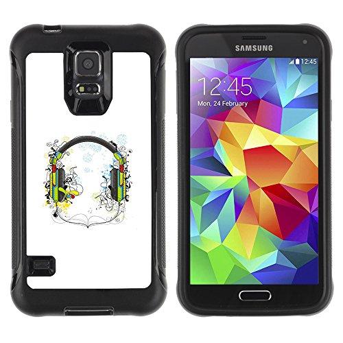 Zaaaz Rugged Armor Slim Protection Case Cover Durable Shell - Music Headphones - Samsung Galaxy S5