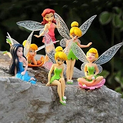 NW 6pcs/set Tinkerbell dolls flying Fairy Adorable tinker bell action dolls flower pretty doll Minifigures toys (Without Original Box)