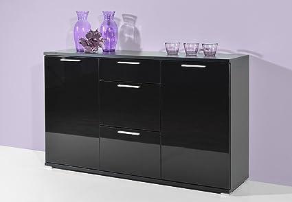 Kommode in schwarz mit Hochglanzfronten, 3 Schubkästen, 2 Turen dahinter je 1 Einlegeboden, Maße: B/H/T ca. 144/88/40 cm