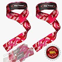 Lifting Wrist Straps by Rip Toned (Pair) - Bonus Ebook - Lifetime Warranty - Cotton Padded - For Weightlifting, Bodybuilding, Crossfit, Strength Training, Powerlifting, MMA (Pink Camo)