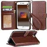 iphone 7 Plus ケース 手帳型 RoHS規格認定書を取得した iphone 7 Plus case スタンド機能付き マグネット内蔵 ストラップ付き アイホン7プラス カーバ 財布型 カードポケット付き (iphone 7 Plus ブラウン)