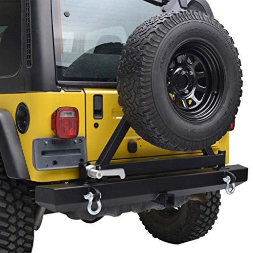 Jeep Wrangler TJ YJ Black E-Autogrilles Rear Bumper with Tire Carrier