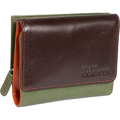 Derek Alexander Leather Trifold Wallet - GREEN/MULTI