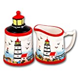 Lighthouse Beach Sugar Bowl Creamer Set Ceramic Kitchen