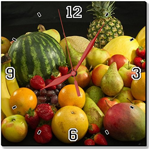 Fresh Healthy Fruits Banana Watermelon Strawberry Pear Orange Apple Pineapple Grape Punktail's Collections 10 Quartz Plastic Wall Square Clock Customized Made to Order