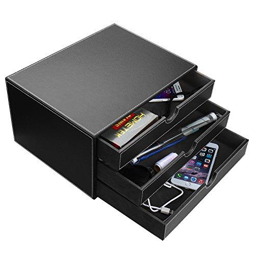 HOMETEK Multi-functional 3 Drawer Leather Desk Organizer File Cabinet Office Supplies Desktop Storage Jewelry Organizer Box with Drawer (Black) (Desktop Storage Cabinet compare prices)