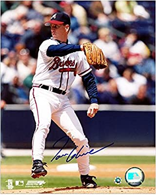 Autographed Tom Glavine Picture - Atlanta Braves Wind Up 8x10 - Mounted Memories Certified - Autographed MLB Photos