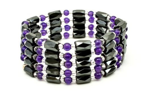 Purple Amethyst & Magnatite Woman'S Magnetic Therapy Wrap Bracelet - Fits All Wrist Sizes