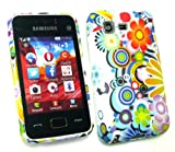 Emartbuy® Samsung S5220 Tocco Lite 2 LCD Screen Protector And Gel Skin Cover Circles & Flowers