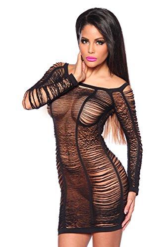 Amynetti Damen Kleid Sexy Elegantes GoGo Netz - Minikleid Partykleid Clubkleid Dessous Negligee in Fadenoptik schwarz - onesize
