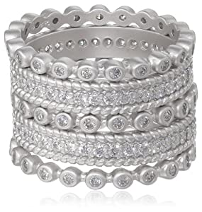 Freida Rothman Five Stack Mixed Silver Colored Stackable Ring, Size 6