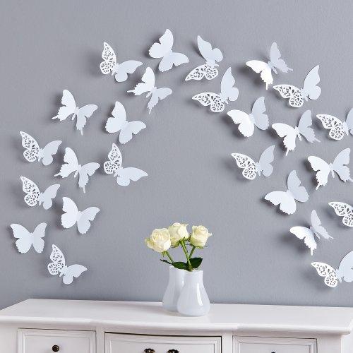 Schmetterlinge II Set 12 tlg. zum Kleben Wanddeko Wandtatto Weiß II
