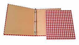 Set of 2 - 3 Ring Fabric Binder 1 Inch - Daily Planners Desk Organizers - Houndstooth Design (Red/White)