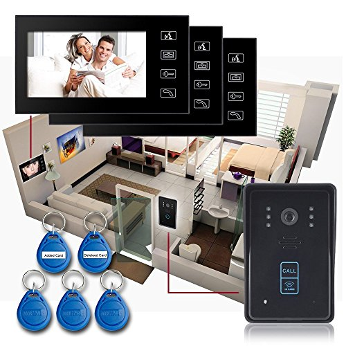 Keedox® Waterproof 7 Inch 1V3 Color Lcd Touch Key Wired Video Door Phone Doorbell Intercom System,1-Camera,3-Monitors