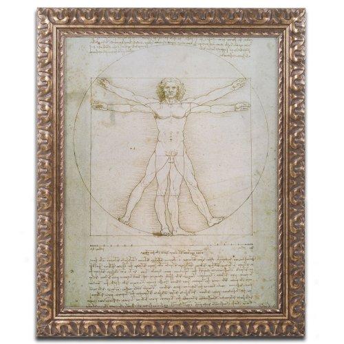 Trademark Fine Art Vitruvian Man Canvas Art By Leonardo Da Vinci, 11 By 14-Inch, Gold Ornate Frame front-267556