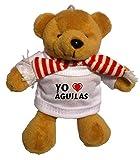 Llavero de oso marrón de peluche con Amo Águilas en la camiseta (ciudad / asentamiento)
