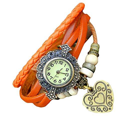 Ashiana stylish leather heart bracelet style watch - Orange