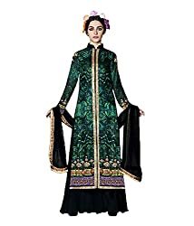 Meera Women's Velvet Unstitched Dress Material (Jinn2_Green Black)