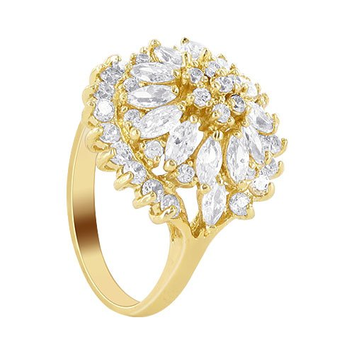 18 KT Gold Layered Marquise Shaped 18mm x 20mm Clear CZ Studded Accented 3mm Band Ring Size 8.5