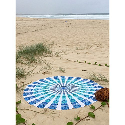 Indian Mandala Round Roundie Beach Throw Tapestry Hippy Boho Gypsy Cotton Tablecloth Beach Towel by Labhanshi [並行輸入品]