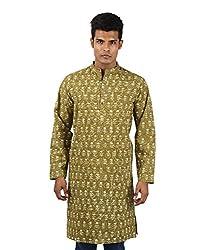 Stylish Cotton Men's kurta Green Ethnic Kurta Hand Block Printed Medium Long shirt Floral Shirt By Rajrang